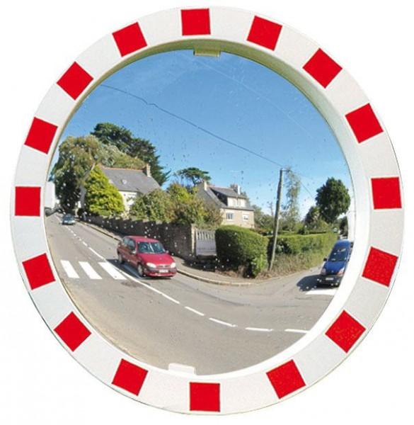 Verkehrsspiegel Vialux® mit rot-weißem Rahmen, in Polymir®-Qualität, Ø 600 mm