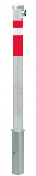 Absperrpfosten CENTRO, Ø76mm, herausnehmbar, abschließbar mit Feuerwehrdreikant, zum Einbetonieren