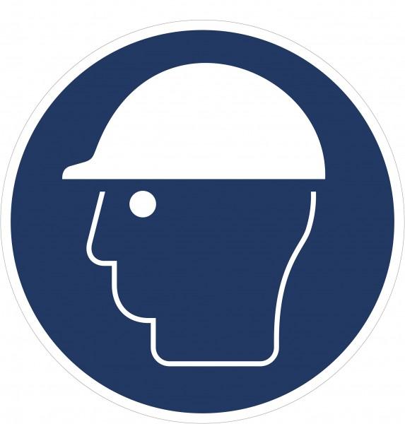 Gebotszeichen / Kopfschutz benutzen / für Bodenmarkierung (indoor), PVC-antirustch, ASR 1.3