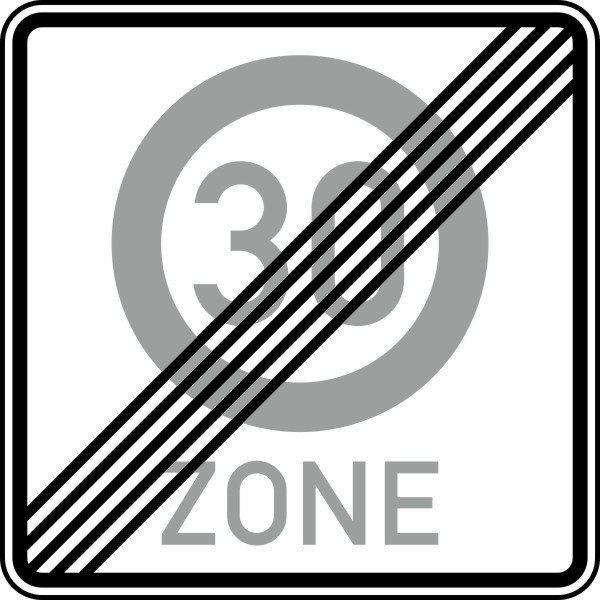 Ende einer Tempo 30-Zone Nr. 274.2-50 nach STVO