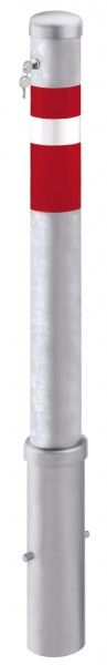 Absperrpfosten Ø95mm, herausnehmbar, abschließbar mit Sicherheitsschloss, zum Einbetonieren
