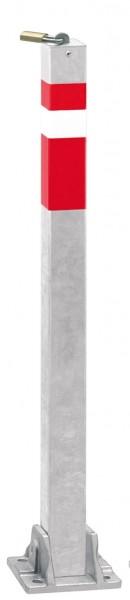 Absperrpfosten 70x70mm, umlegbar, abschließbar mit Vorhangschloß, zum Aufdübeln