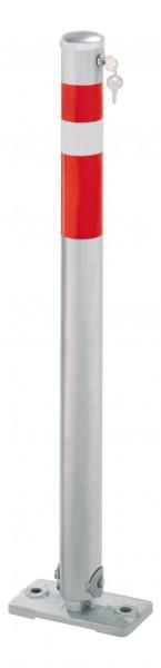 Absperrpfosten Ø64mm, umlegbar, abschließbar mit Sicherheitsschloß, zum Aufdübeln