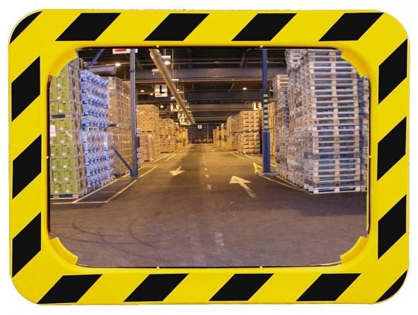 Spiegel mit gelb-schwarzem Rahmen Vialux®, in Polymir®-Qualität, 600x400 mm,