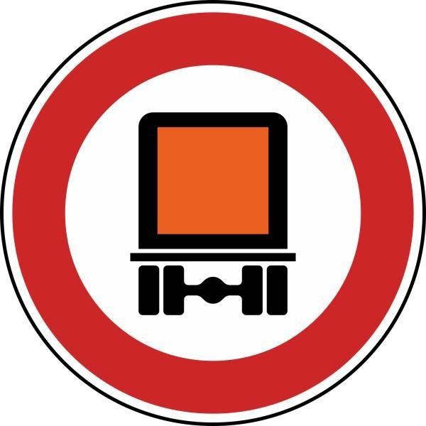 Verbot für kennzeichnungspflichtige Kraftfahrzeuge mit gefährlichen Gütern Nr. 261 nach STVO