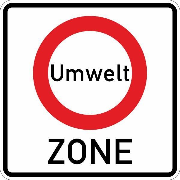 Beginn einer Verkehrsverbotszone zur Minderung ... doppelseitig Nr. 270.1-40 nach STVO