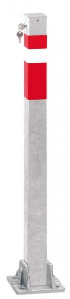 Absperrpfosten 70x70mm, umlegbar, abschließbar mit Sicherheitsschloß, zum Aufdübeln