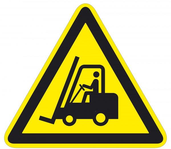Warnzeichen / Warnung vor Flurförderzeugen / für Bodenmarkierung (indoor), PVC-antirustch, ASR 1.3