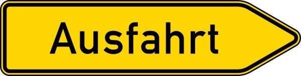 Ausfahrt von anderen Straßen außerhalb der Autobahn in gelb Nr. 333-20 nach STVO