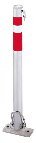 Absperrpfosten Ø64mm, umlegbar und selbstaufrichtend, mit Sicherheitsschloß, zum Aufdübeln