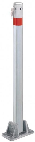 Absperrpfosten Ø64mm, umlegbar nach 2 Seiten, mit Sicherheitsschloß, zum Aufdübeln