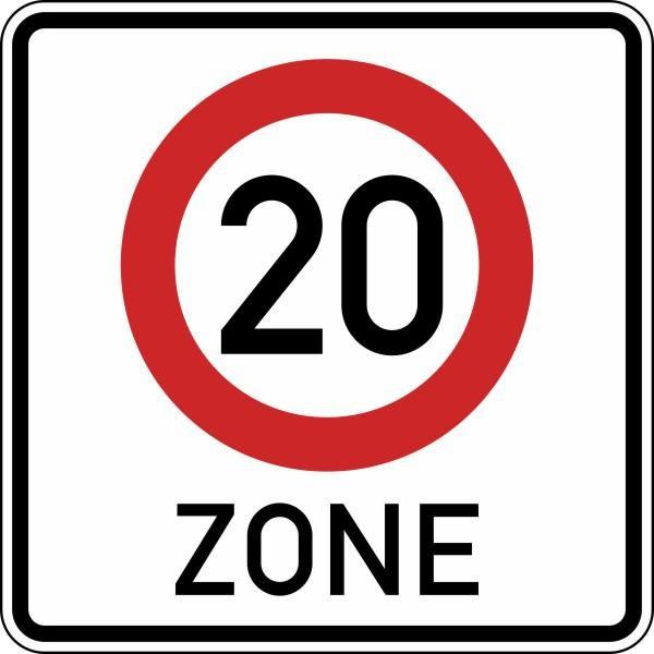 Beginn einer Tempo 20-Zone doppelseitig Nr. 274.1-41 nach STVO