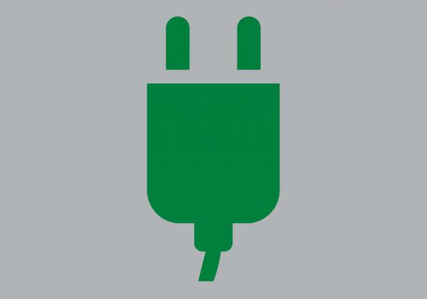 Symbol für E-Autos, thermoplastische Fahrbahnmarkierung