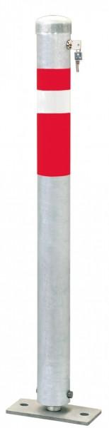 Absperrpfosten CENTRO, Ø76mm, umlegbar, abschließbar mit Sicherheitsschloß, zum Aufdübeln
