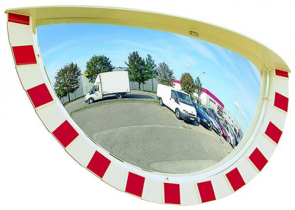 Verkehrsspiegel Vialux® mit rot-weißem Rahmen, in P.A.S.®-Qualität, Ø 800 x 400 mm