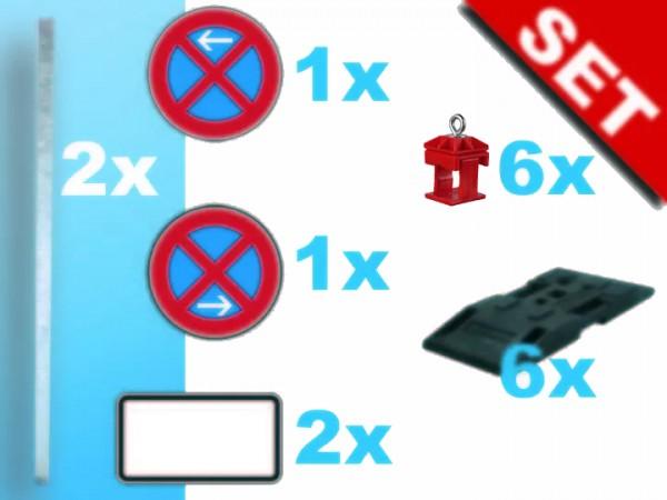 Haltverbotszonen-Set: 2x Schaftrohr, 6x Fußplatte, je 1x Halteverbotsschild Anfang/Ende / gemäß TL