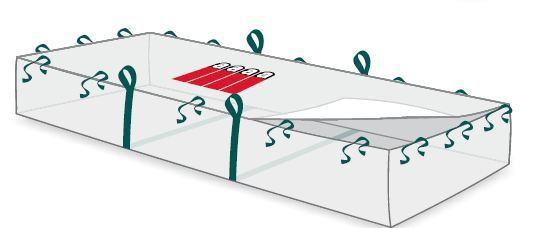 Plattenbag 320x125x30cm, Asbestaufdruck, 4 Haltebändern, SWL 1.500 kg, TRSG 519, DIN 21898 geprüft