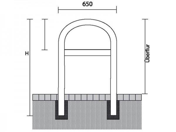 Anlehn - Absperrbügel, Universalbügel, Ø 48 mm, Breite 650 mm, mit Querholm, zum Einbetonieren