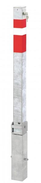 Absperrpfosten 70x70mm, umlegbar und herausnehmbar, abschließbar mit Sicherheitsschloß
