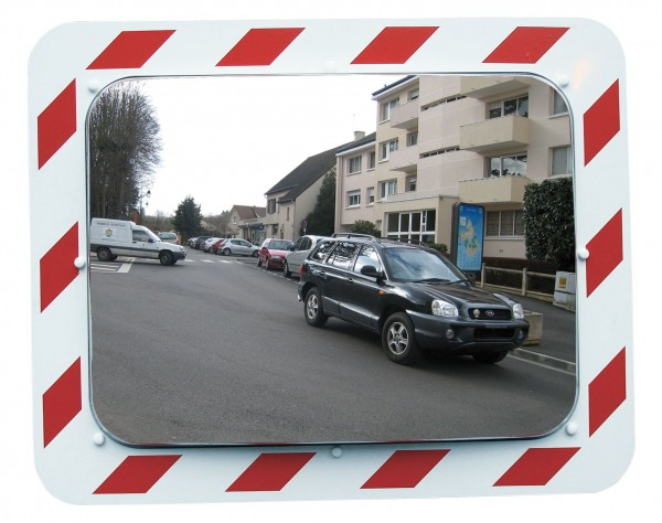 Anti-Frost / Anti-Beschlag Spiegel Vialux®, in Edelstahl-Qualität, mit rot-weißem Rahmen, 600 x 400