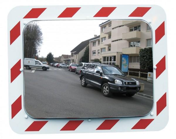 Verkehrsspiegel Vialux®, in Edelstahl-Qualität, mit rot-weißem Rahmen, in Edelstahl-Qualität, 600x40
