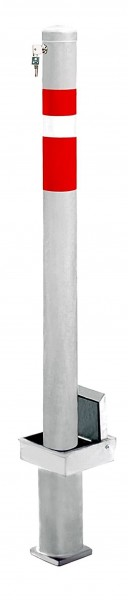 Absperrpfosten Ø76mm, herausnehmbar, Hülse selbstverschließend + überfahrbar, mit Sicherheitsschloss