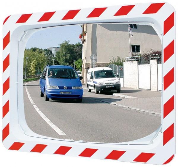 Verkehrsspiegel Vialux® mit rot-weißem Rahmen, in P.A.S.®-Qualität, 600x400 mm
