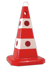 Leitkegel aus PP, H 600 mm, rot/weiß