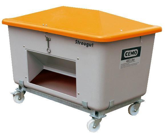 Stahlfußgestell für Streugutbehälter, verzinkt, mit Rollen, für den mobilen Einsatz