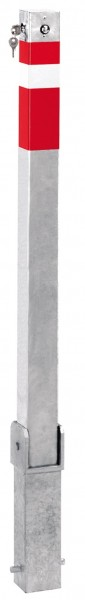 Absperrpfosten 70x70mm, umlegbar, abschließbar mit Sicherheitsschloß, zum Einbetonieren