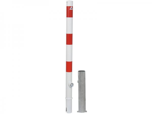 Absperrpfosten Ø60mm, herausnehmbar, mit Dreikantverschluss, zum Einbetonieren mit Bodenhülse