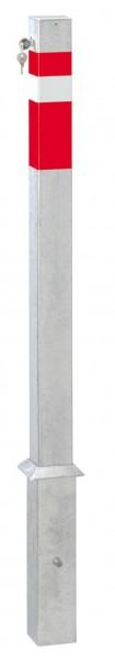 Absperrpfosten 70x70mm, herausnehmbar, abschließbar mit Sicherheitsschloß, zum Einbetonieren