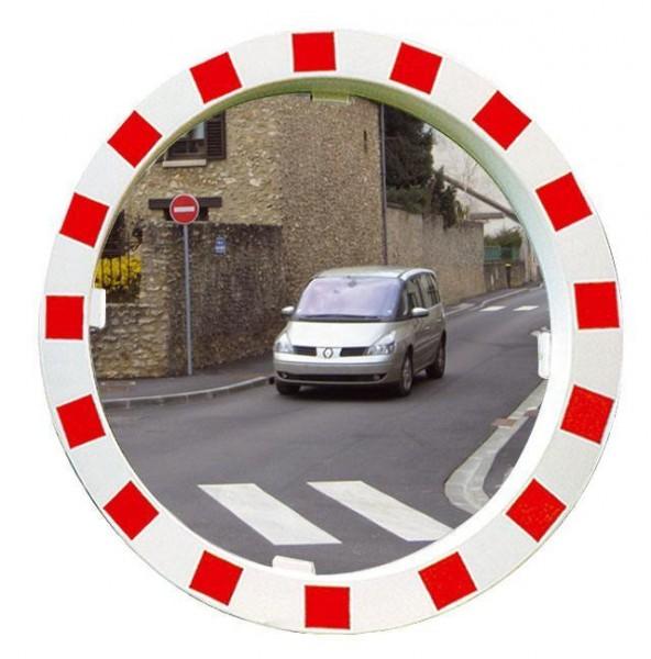 Verkehrsspiegel Vialux® mit rot-weißem Rahmen, in P.A.S.®-Qualität, Ø 600 mm