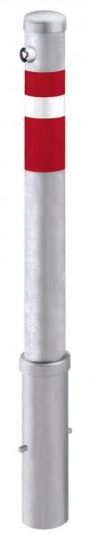 Absperrpfosten Ø95mm, herausnehmbar, abschließbar mit Feuerwehrdreikant, zum Einbetonieren
