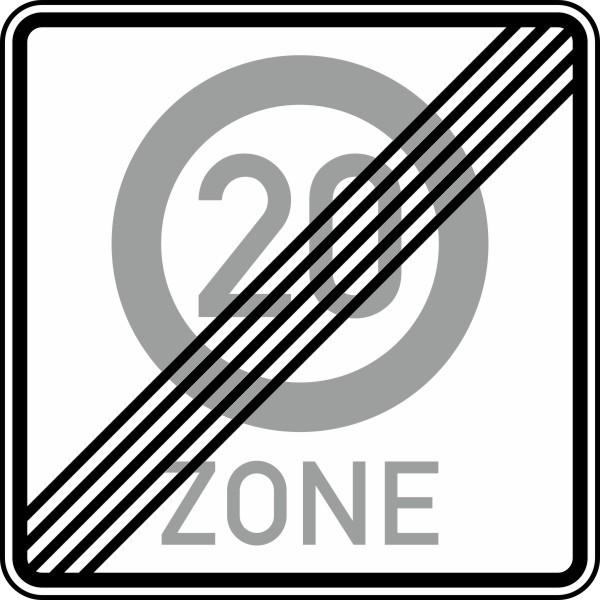 Ende einer Tempo 20-Zone Nr. 274.2-51 nach STVO