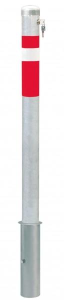 Absperrpfosten CENTRO, Ø76mm, herausnehmbar, abschließbar mit Sicherheitsschloss, zum Einbetonieren