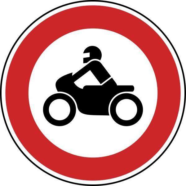 Verbot für Krafträder, auch mit Beiwagen, Kleinkrafträder und Mofas Nr. 255 nach STVO