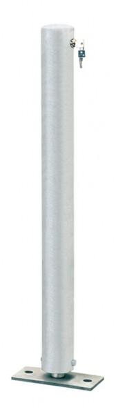 Absperrpfosten CITIRING, Ø76mm, umlegbar, abschließbar mit Sicherheitsschloß, zum Aufdübeln