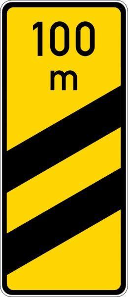 Ankündigungsbake gelb, zweistreifig Nr. 450-54 nach STVO
