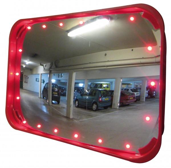 Verkehrsspiegel Vialux®, mit rotem Rahmen, mit LED, in Polymir®-Qualität, 600 x 400 mm